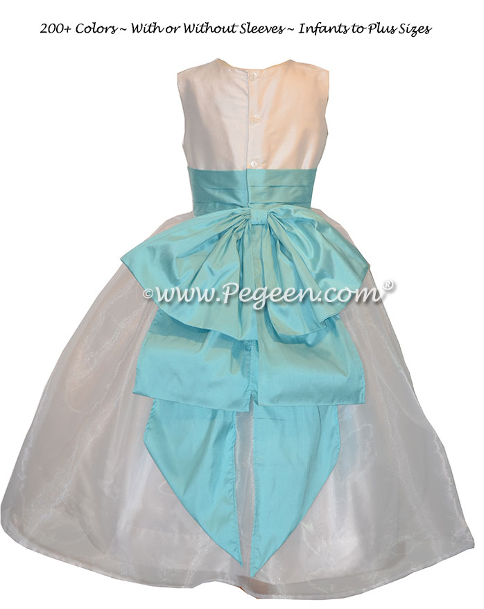 Bahama Breeze and Antique White silk flower girl dress Style 394