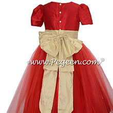 Gold and Christmas Red Silk Flower Girl Dresses Style 394