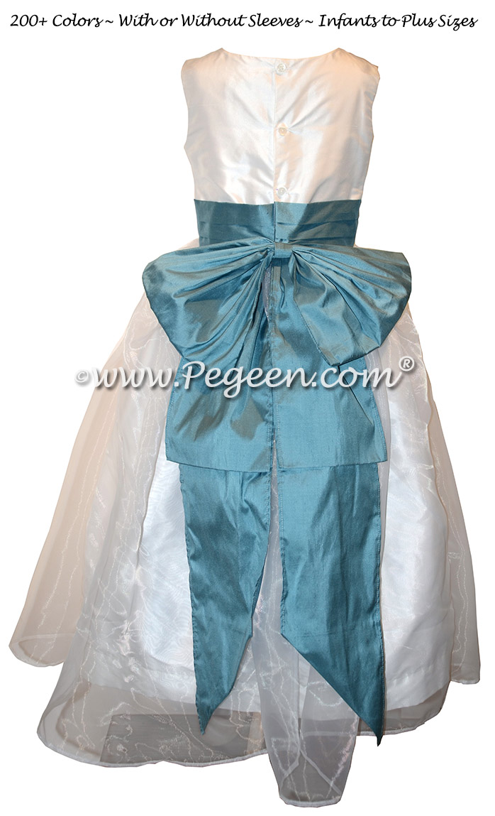 Flower Girl Dress in French Blue, White, Organza  with Cinderella Bow | Pegeen