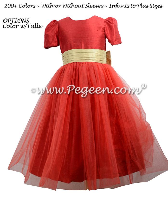 Christmas Red Silk Flower Girl Dresses Style 394