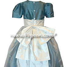 Custom Ivory and French Blue Silk Flower Girl Dresses