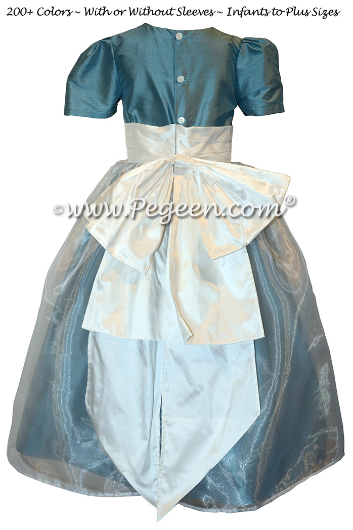 French Blue and White Silk and Organza flower girl dresses with Cinderella Bow