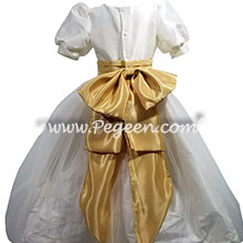 Ivory and gold silk flower girl dress with puff sleeves
