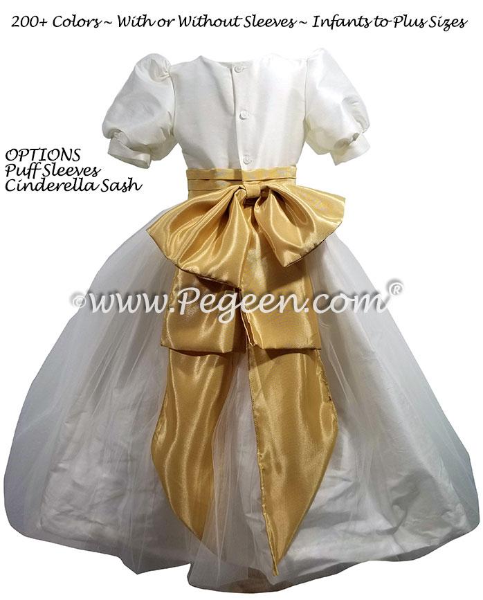 Silk flower girl dress New Ivory and Spun Gold Cinderella Sash