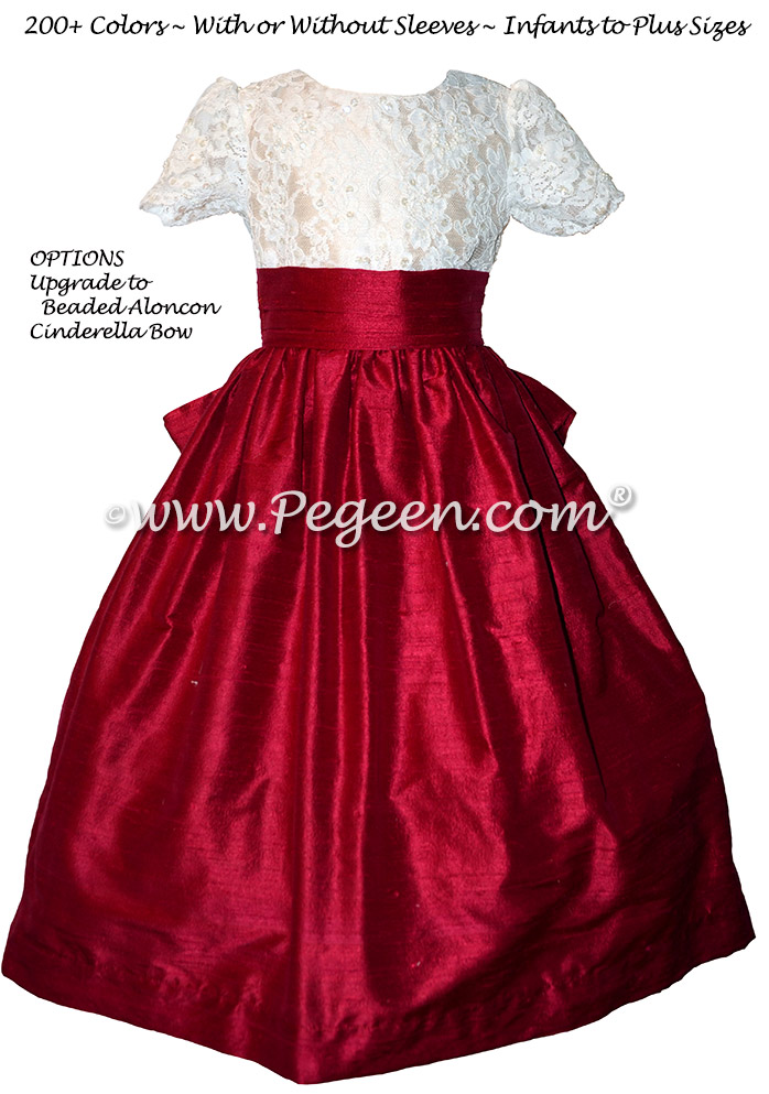 Cranberry and White custom flower girl dresses - Style 396