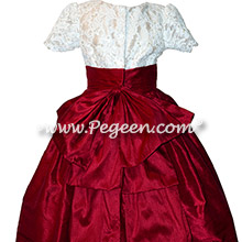 Cranberry and White custom flower girl dresses
