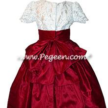 Cranberry and White custom flower girl dresses