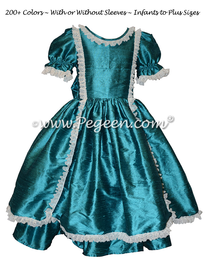 Blue Spruce Victorian Styled - Silk flower girl dresses