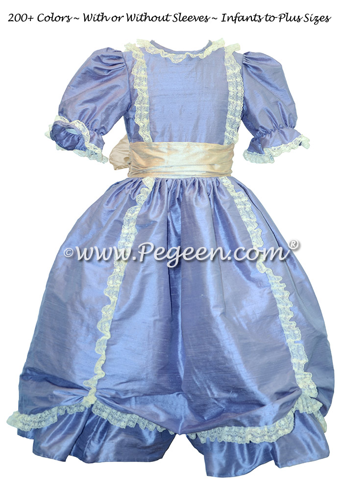 Periwinkle Victorian Style - Silk flower girl dresses | Pegeen