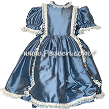 Victorian Style Silk Dress for Nutcracker Party Scene and Clara Costume in French Blue
