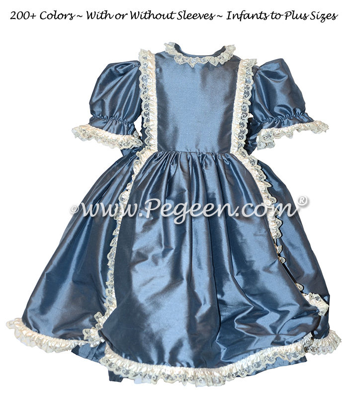 Victorian Style Silk Dress for Nutcracker Party Scene and Clara Costume in French Blue | Pegeen