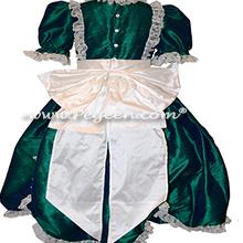 Victorian Style Silk Dress for Nutcracker Party Scene and Clara Costume in Holiday Green | Pegeen