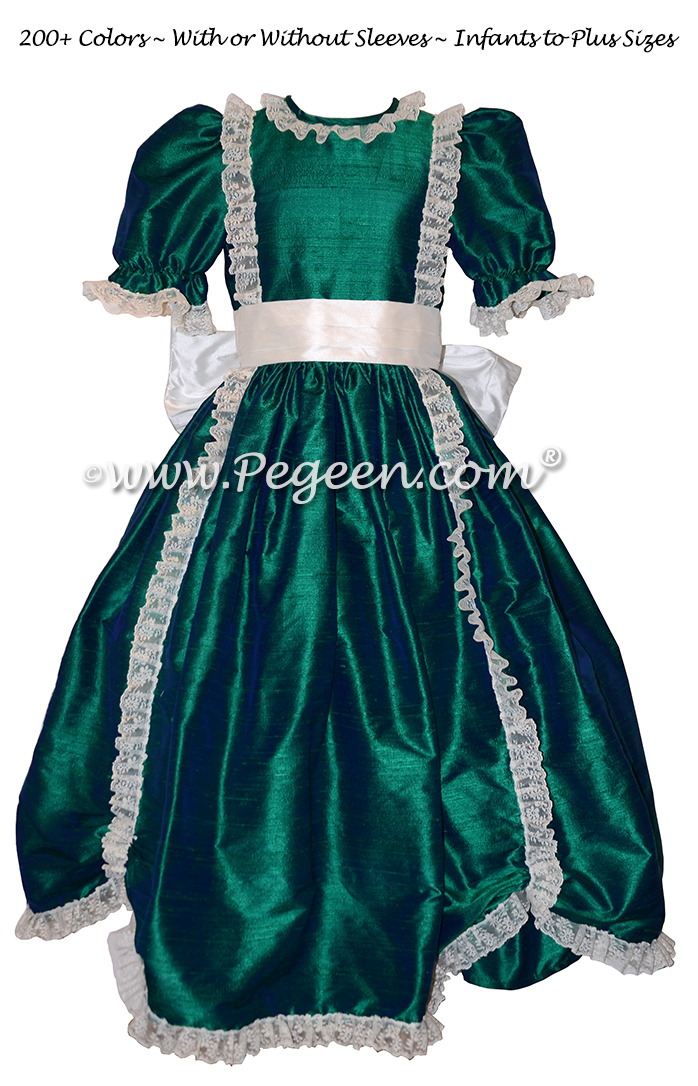 Victorian Style Silk Dress for Nutcracker Party Scene and Clara Costume in Holiday Green