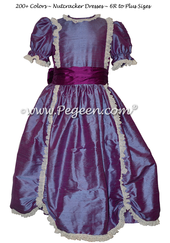 Razzleberry (purple) silk Victorian-style Nutcracker Dress for Nutcracker Performance