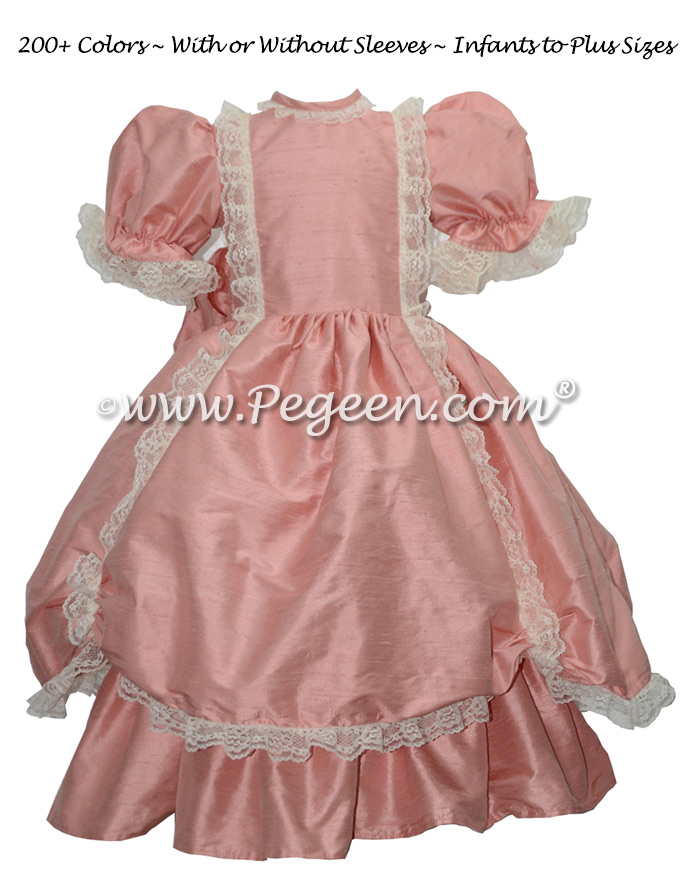 Rum Pink silk Victorian style flower girl dress