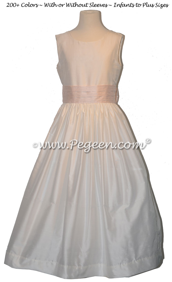 Baby Pink and White Flower Girl Dresses Classic Style 398