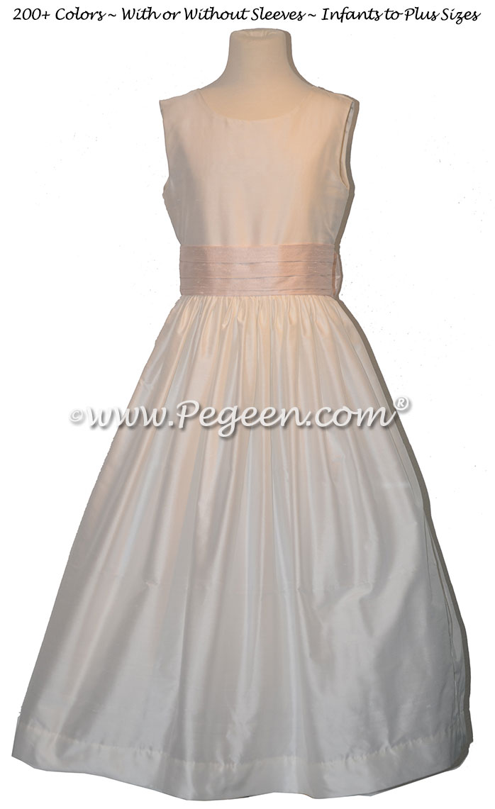 Ivory with a baby pink silk sash flower girl dress Style 398