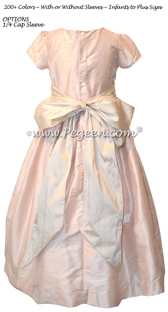 BABY PINK AND TOFFEE CUSTOM FLOWER GIRL DRESSES WITH 1/4 CAP SLEEVES