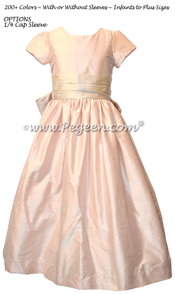 Navy Blue and Sprite Green Custom Silk Flower Girl Dresses Style 398   Pegeen