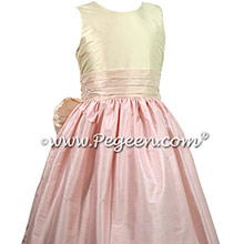 Shades of Pink Silk flower girl dresses