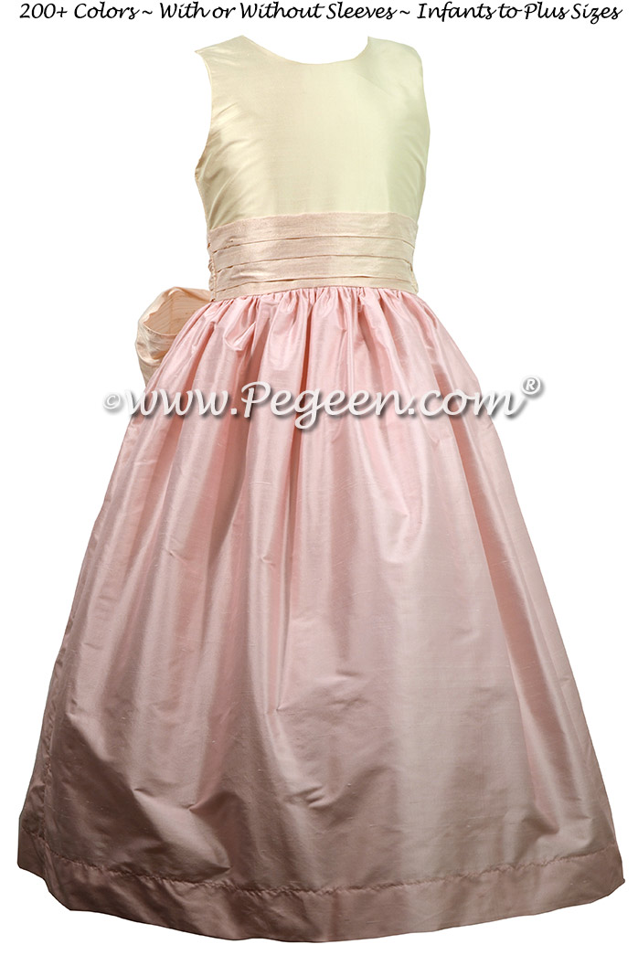 Shades of Pink Silk flower girl dresses - Style 398