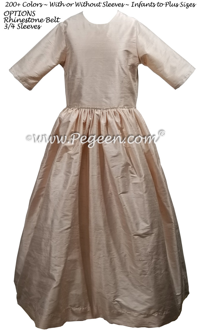 Ballet Pink Silk Jr Bridesmaids Dress with 3/4 Sleeves