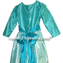 3/4 Sleeved Bermuda Blue and Teal Silk flower girl dresses