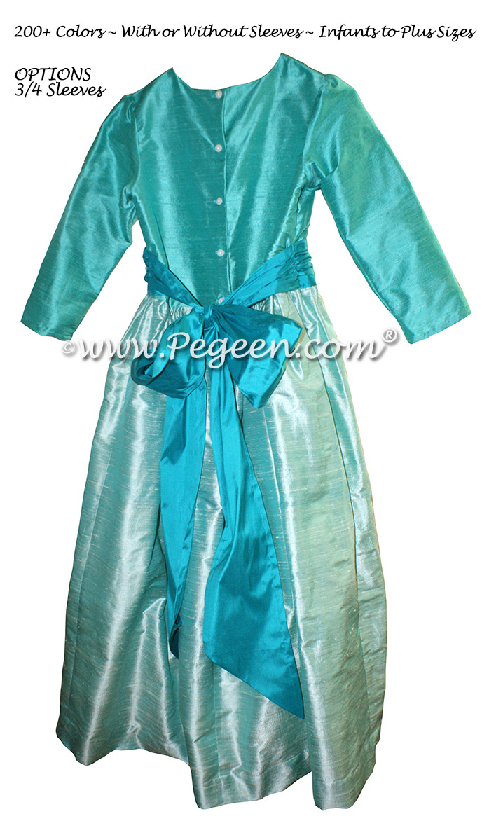 3/4 Sleeved Bermuda Blue and Teal Silk flower girl dresses - Style 398 | Pegeen