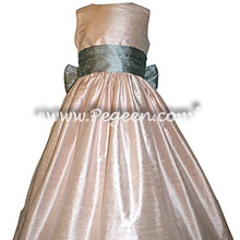 Silver Gray and Light Pink Silk flower girl dresses