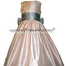 Silver Gray and Light Pink Silk flower girl dresses