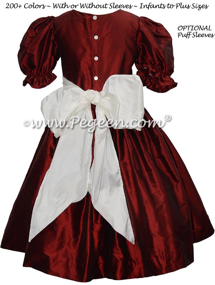 Flower Girl Dress in Claret Red Silk with an antique white silk sash