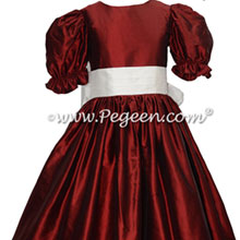 Flower Girl Dress in Claret Red Silk with an antique white silk sash Style 398