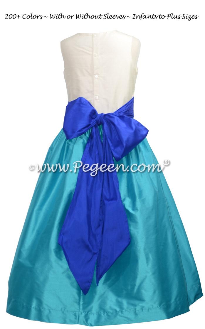 Deep Sea blue and Sapphire Flower Girl Dress