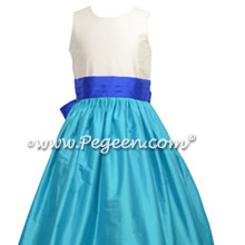 Deep Sea blue and Sapphire Flower Girl Dress