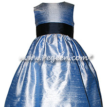 Navy and Denim Blue Silk flower girl dresses