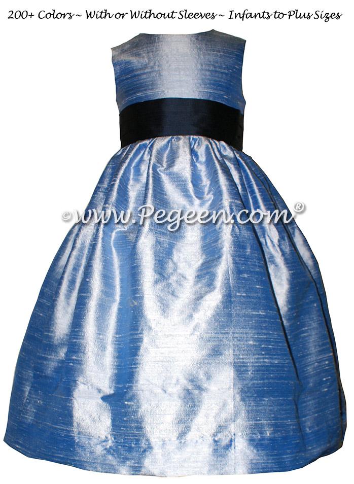 Navy and Denim Blue Silk flower girl dresses