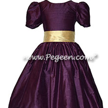 Eggplant and Pure Gold Silk Flower Girl Dresses Style 398 | Pegeen