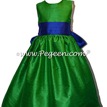 Shamrock Green and Sapphire Blue Custom Silk Flower Girl Dress