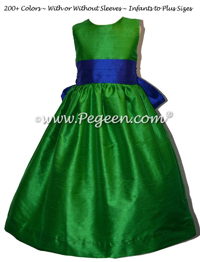 Shamrock Green and Sapphire Blue silk flower girl dresses