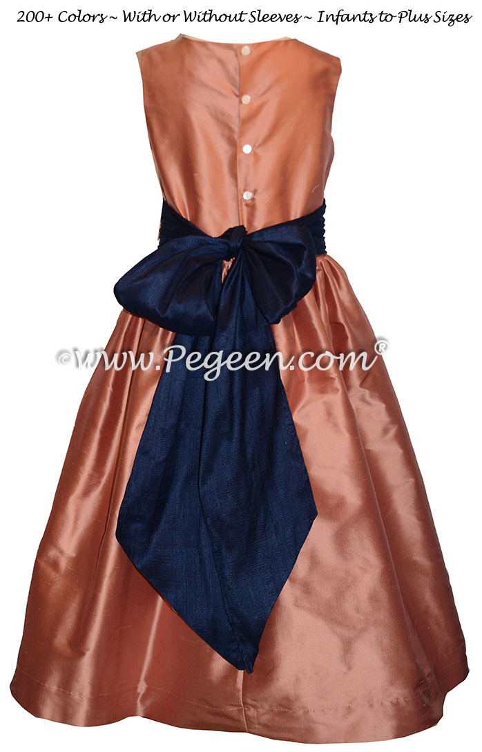 Salmon Flame and Navy Blue silk flower girl dresses