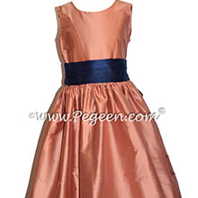 Salmon Flame and Navy Blue silk flower girl dresses Style 398