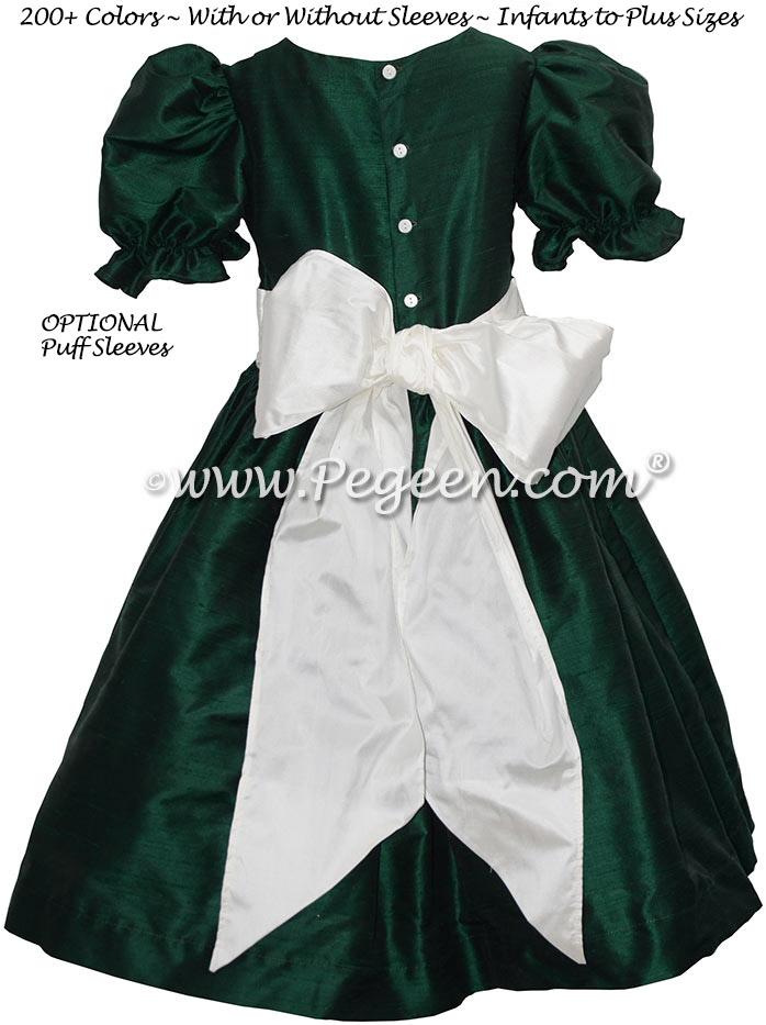 Forest Green and New Ivory Silk flower girl dress with puff sleeves