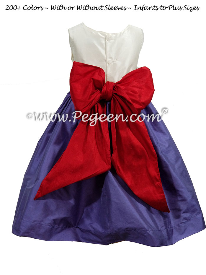 Flower Girl Dress in Blueberry, Christmas Red and Antique White| Pegeen