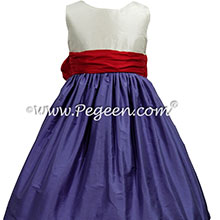 Blueberry, Christmas Red and Antique White flower girl dress