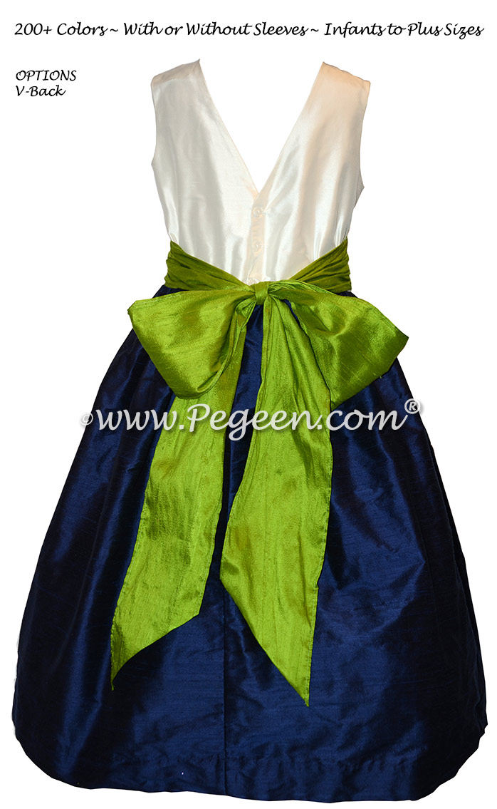 Grass Green and Navy Custom Flower Girl Dresses in Silk with V-Back