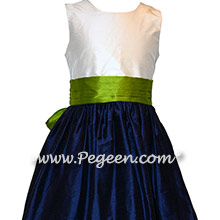 Grass Green and Navy Custom Flower Girl Dresses in Silk