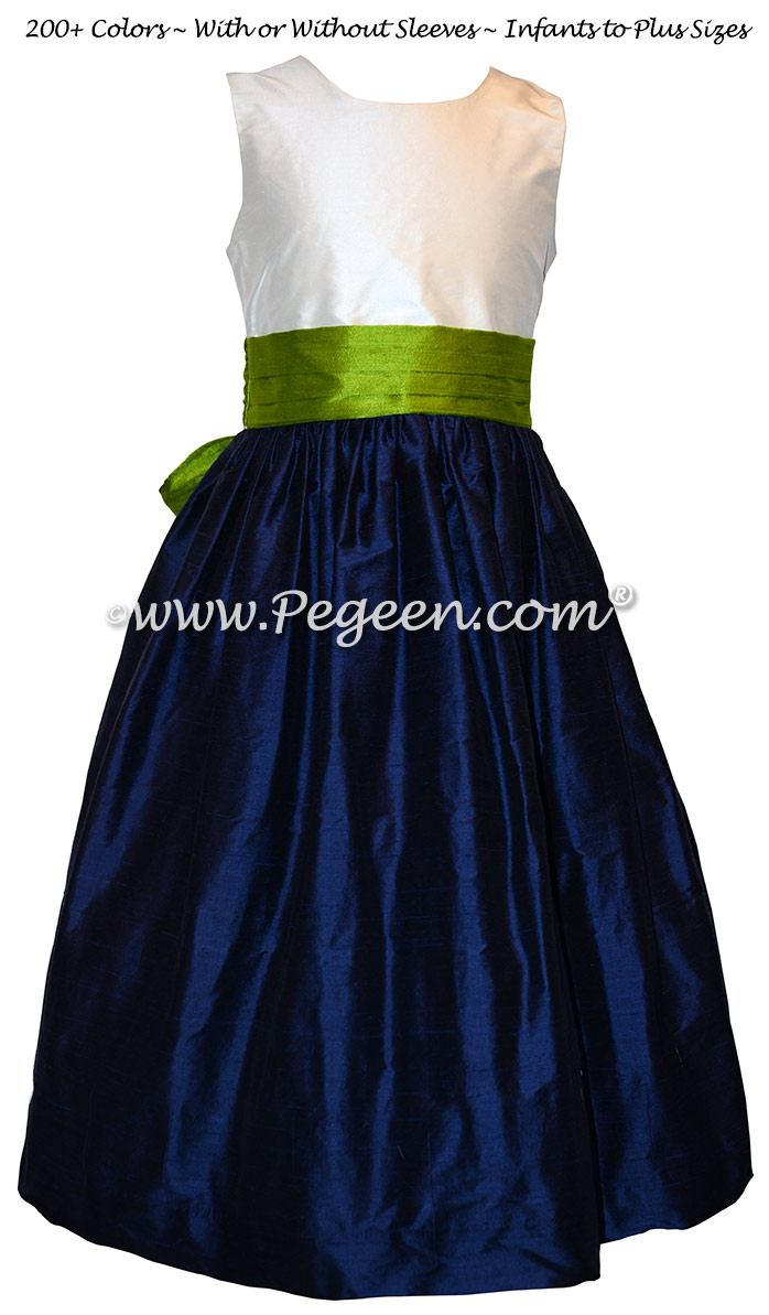 Grass Green and Navy Custom Flower Girl Dresses in Silk Style 398
