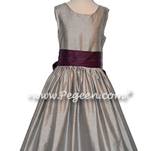 Morning Gray and 1000 Nights silk flower girl dresses