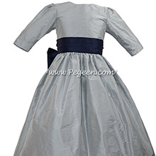 Nav Blue and gray sky silk flower girl dress with 3/4 sleeves