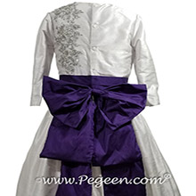 Platinum gray and deep plum flower girl dress with 3/4 sleeves